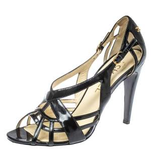 Chanel Black Patent Leather CC Cage Sandals Size 40