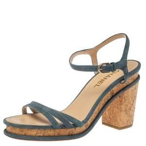 Chanel Grey Suede Leather Ankle Strap Cork Platform Sandals Size 40