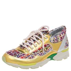 حذاء رياضى شانيل سى سى جلد هولوغرافيك وقماش تويد متعدد الألوان مقاس 37.5
