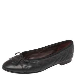 حذاء فلات باليه شانيل سى سى جلد أسود مقاس 38.5