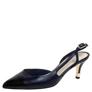 Chanel Navy Blue/Black Leather Cap Toe slingback Sandals Size 38