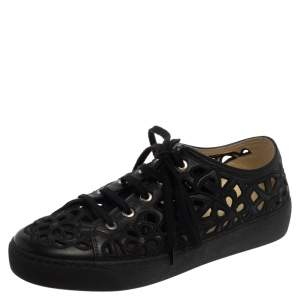 Chanel Black Floral Cutout Leather CC Low Top Sneakers Size 39.5