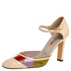 Chanel Multicolor Patent Leather D'orsay Colorblock Ankle Strap Pumps Size 38