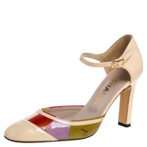 حذاء كعب عالى شانيل سيور كاحل كتل لونيه دورسيه جلد لامع متعدد الألوان مقاس 38