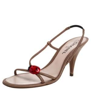 Chanel Brown Leather Ladybug Embellished Sandals Size 38.5