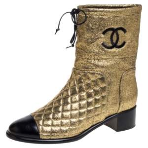 Chanel Gold Leather Quilted CC Logo Ankle Boots Size 39