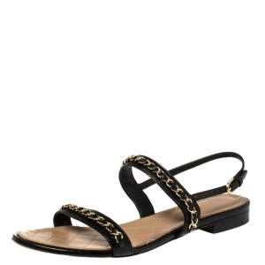 Chanel Black Leather CC Chain Detail Slingback Flat Sandals Size 41