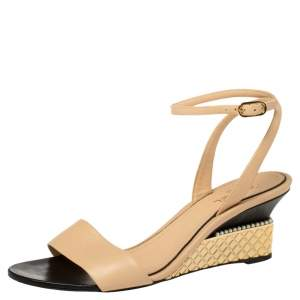 Chanel Beige Leather CC Pearl Embellished Ankle Wrap Sandals Size 40