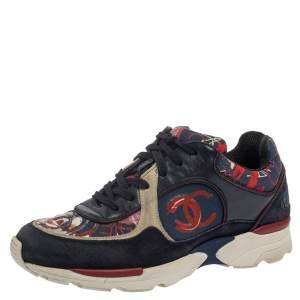 Chanel Multicolor Canvas and Suede Heart Low Top Sneakers Size 36