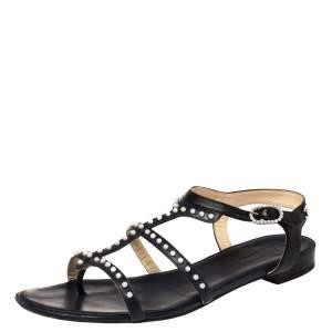 حذاء شانيل فلات سيور كاحل زخرفة لؤلؤ جلد أسود / أزرق مقاس 39