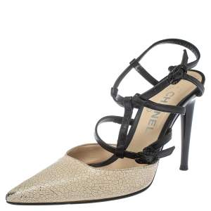 Chanel Beige/Black Leather Cage Ankle Strap Sandals Size 36.5
