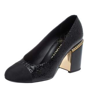 Chanel Black Patent Leather And Fabric Cap Toe Pearl Embellished Block Heel Pumps Size 39.5