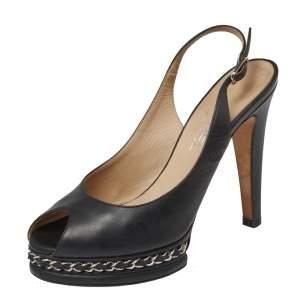 Chanel Black Leather Chain Platform Slingback Sandals Size 38.5