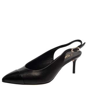 Chanel Black Leather CC Cap Toe Slingback Sandals Size 37.5