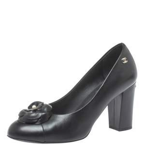 Chanel Black Leather CC Camelia Pumps Size 37