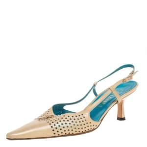 Chanel Beige Leather Accent Interlocking CC  Slingback Sandals Size 36