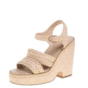 Chanel Beige Quilted Leather CC Chain Around Wedge Platform Sandals Size 38