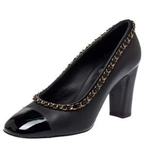 حذاء كعب عالى شانيل حافة مزخرفة سلسلة غطاء مقدمة جلد لامع وجلد أسود مقاس 39