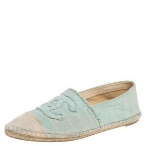 Chanel Green/White Canvas CC Cap Toe Flat Espadrilles Size 38