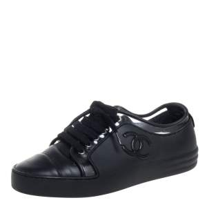 Chanel Black Rubber and Leather CC Low Top Sneakers Size 36.5