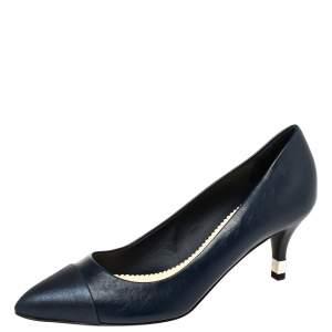 Chanel Blue Leather Cap Toe CC Pumps Size 38