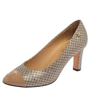 حذاء كعب عالي شانيل شبكة وجلد لامع سي سي شبكة إيرديسينت متعددة الألوان مقاس 38