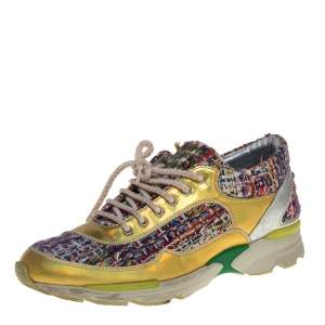 Chanel Multicolor Tweed Fabric And Patent Leather CC Lace Up Sneakers Size 39