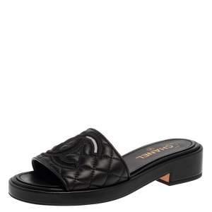Chanel Black Quilted Leather CC Flat Slides Size 39