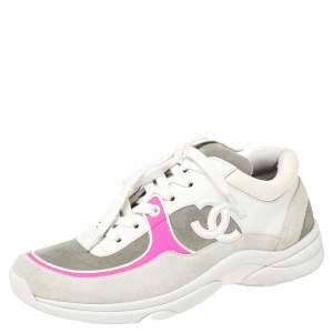 Chanel Grey/Pink Suede And Leather CC Low Top Sneakers Size 36