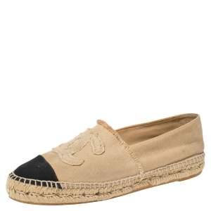 Chanel Beige/Black Canvas CC Cap Toe Espadrilles Size 41