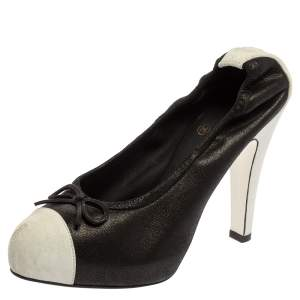 Chanel Black/white Leather Scrunch String Bow Detail Cap Toe Pumps Size 39