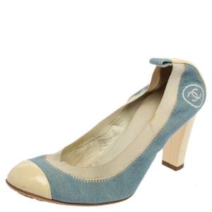 Chanel Blue/White Denim and Patent Leather Cap Toe Scrunch Pumps Size 38.5