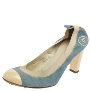 حذاء كعب عالي شانيل دنيم أزرق / أبيض وجلد لامع سكرانش مقاس 38.5