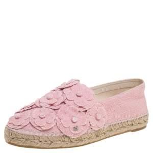 حذاء إسبادريلز شانيل كاميليا سى سى قماش سى سى قماش تويد وردى مقاس 39