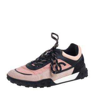 Chanel Pink/Black Nylon And Suede Logo Low Top Sneakers Size 38