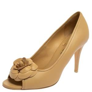 Chanel Beige Leather Camellia CC Open Toe Pumps Size 40