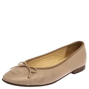 Chanel Beige Leather CC Bow Ballet Flats Size 39
