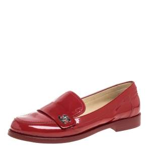 Chanel Red Patent Leather CC Logo Slip On Loafers Size 38