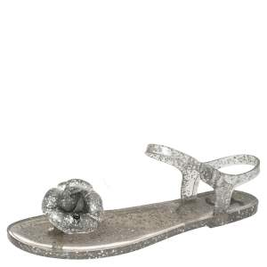 Chanel Grey Glitter Jelly Camellia Flat Sandals Size 39
