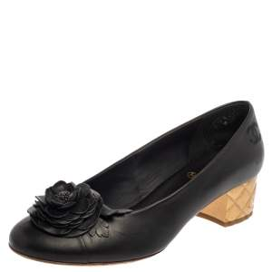Chanel Black Leather Camellia Ballet Pumps Size 40.5