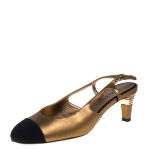 Chanel Metallic Gold Leather And Fabric Cap Toe Slingback Sandals Size 40