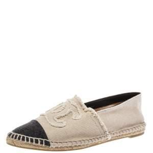 Chanel Black/Off White Denim CC Cap Toe Espadrilles Flats Size 37