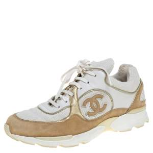 Chanel White/Beige Mesh And Suede CC Low Top Sneakers Size 40.5