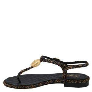 Chanel Black Tweed T Strap Thong Sandals Size EU 38.5