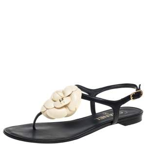 Chanel Black Leather And Cream Camellia CC Thong Sandals Size 36.5