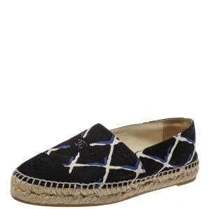 Chanel Black Lattice Print Canvas Coco Beach CC Espadrilles Size 36