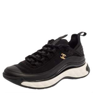 Chanel Black Suede, Fabric and Leather Sport Trail Sneakers Size 40