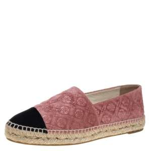 Chanel Pink Camellia Embossed Velvet CC Cap Toe Espadrille Flats Size 40