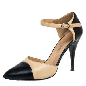 Chanel 2 Tone Leather Pointed Toe Ankle Strap Sandals Size 37