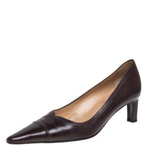 Chanel Brown Leather CC Pointed Toe Pumps Size 39